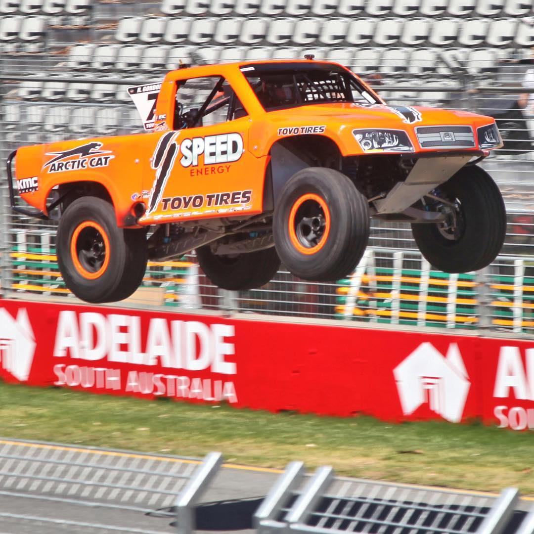 My dad @robbygordon jumping his @ssupertrucks in Australia...